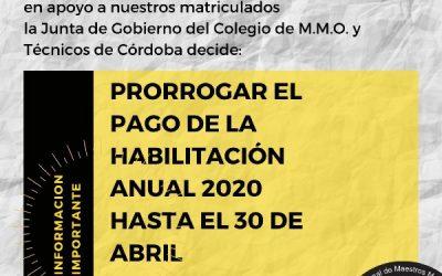 Prorroga del pago de la habilitación anual 2020