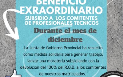 En diciembre: subsidio del 100 % en el Registro de Obra Diferenciado