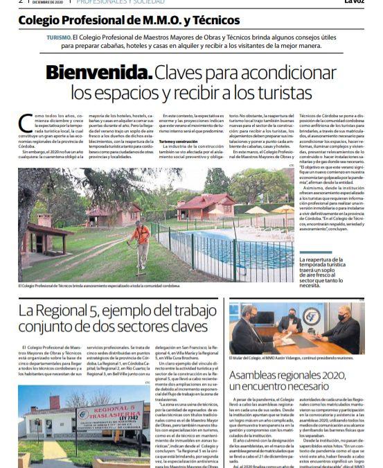 El Colegio en La Voz del Interior: Las últimas noticias institucionales 👉  Próxima temporada de verano en Córdoba, el turismo, la Regional 5 Traslasierra y las Asambleas 2020.