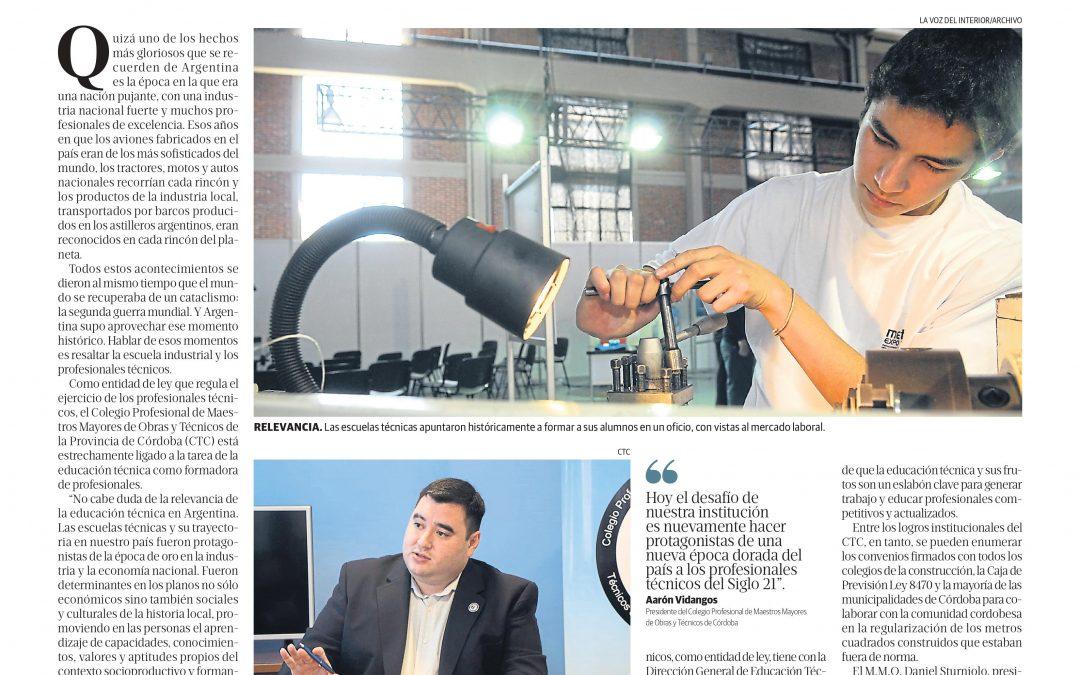 El Colegio en La Voz del Interior: el aporte a la economía de los profesionales técnicos
