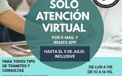 Prórroga en la atención virtual hasta el 9 de julio