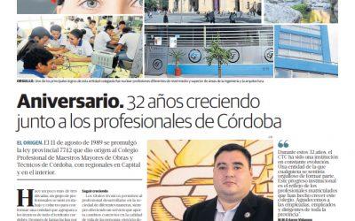 EL COLEGIO EN LOS MEDIOS: 32 AÑOS CRECIENDO JUNTO A LOS PROFESIONALES TECNICOS